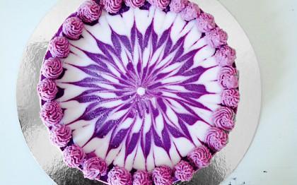 """""""Midsummer Love"""" sweet cherry & yoghurt swirl cake"""