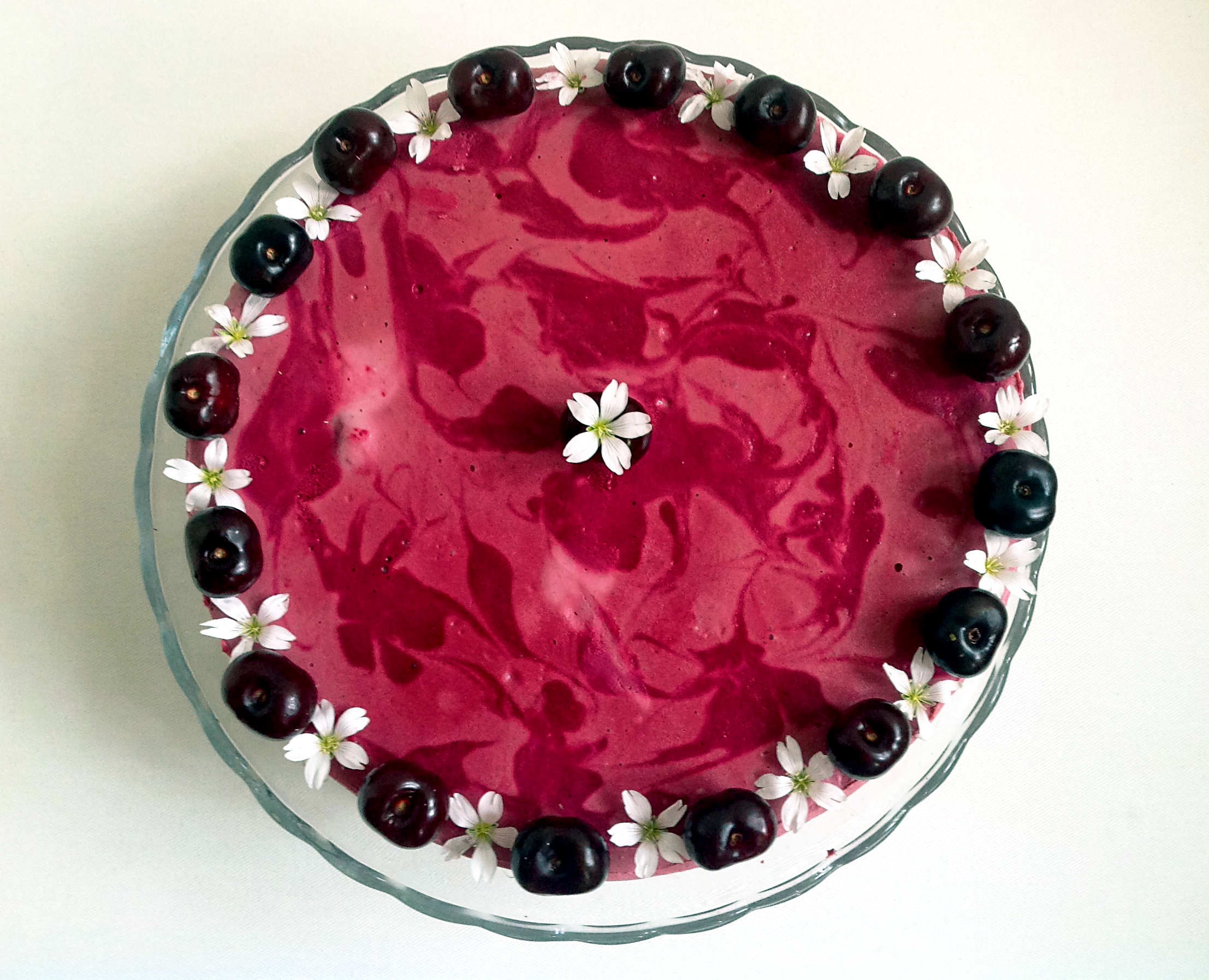 """Cherry blossom"" fermented raw cheesecake"